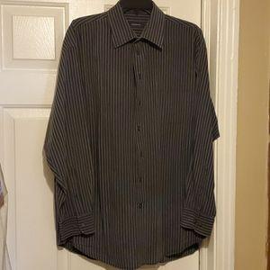 Claiborne black/charcoal gray striped dress shirt